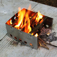 Outdoor Folding Picnic BBQ Camping Cooking Wood Burner Stove Stainless Steel
