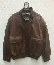 Mans Leather Jacket 48 Chest 122 Brown Bomber Montcler Zip Pockets Lined Retro