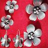 Elegante Damen Ohrringe Angänger SCHMUCK echt Silber 925% Sterling Blumen-Design