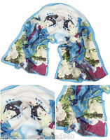 Lady's  Beautiful Chinese Classic Beauty Print Scarves Blue Chiffon Long Scarf