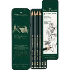 #119063 Faber Castell Tin of 6 Castell 9000 Graphite Pencils Artists Art Set