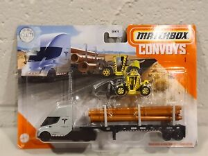 Matchbox Convoy Tesla Semi Truck And Pipe Trailer With Load Lifter and pipes