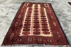 Authentic Hand Knotted Vintage Zaidan Balouch Wool Area Rug 4 x 3 Ft (2609 KBN)