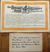 Everett Piano Co., Boston, MA 908 Warranty/Guarantee Certificate w/Vignette