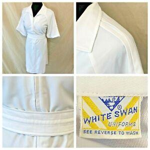 Vintage Nurse Uniform Dress size L Pintuck Shoulders Belt White Swan Zip Up DS14