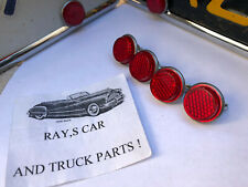 4 NEW VINTAGE STYLE RED REFLECTOR LICENSE PLATE FASTENERS #