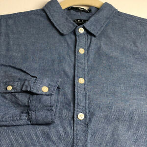 21 Men Long Sleeve Button Up Shirt Medium M Chambray Blue White Polka Dots