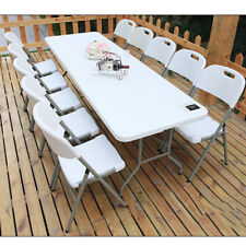 6ft Half Fold-away Plastic Table Heavy Duty BBQ Picnic Camping Table Outdoor