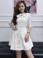 Women's Casual Elegant A Line 3/4 Sleeve Bow Neck Dress Size S Small