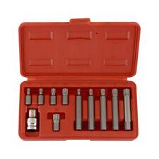 """11pc XZN Spline Socket Bit Set   12pt CrV 1/2"""" x 10mm Hex Shank M5 M6 M8 M10 M12"""