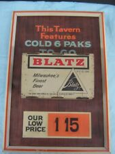 Rare 1960's Blatz 3D Can Sign 6 Paks To Go $1.15 With Real Air Filled Flat Tops