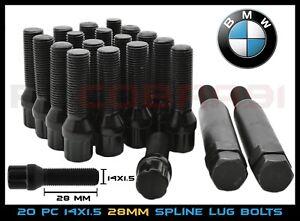 20 BMW Cone 14x1.5 Black Tuner Spline Lug Bolts For Aftermarket Wheels + 2 Keys