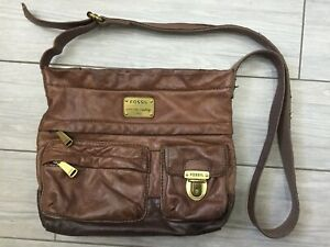 LADIES BROWN LEATHER FOSSIL MULTI-COMPARTMENT CROSSBODY BAG
