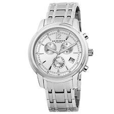 New Men's Akribos XXIV AK692SSW Swiss Chronograph Date White Dial Steel Watch