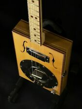 Cigar box guitar 3 string resophonic dog bowl custom