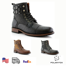 Men's Stylish Motorcycle Combat Work Casual Formal Lace-Up Zipper Hiking Boots