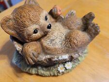 Homco Masterpiece Porcelain 1986 Bear in Tree Stump Eating Apple Figurine Mexico