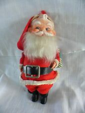 """Vintage 9"""" Santa - With Vinyl Face, White Beard, Sack And Bell"""