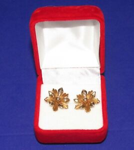 Gorgeous Secondhand  9ct Yellow Gold Flower Cluster Star Stud earrings(pierced)