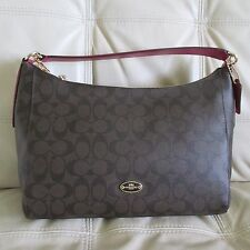 Coach Signature East/West Celeste Convertible Hobo (Brown/Cranberry)
