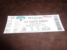 PHILLIES 2014 TICKET STUB VS DODGERS 5/24/14 David Buchanan MLB DEBUT & WIN