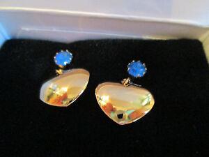 Avon Vintage Birthstone Heart Drop Earrings W/Surgical Steel Posts September*NIB