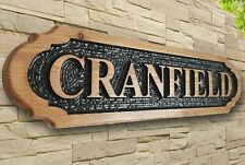 Personalised  Carved  Wooden Oak / Pine Address Sign House Name Outdoor Plaque