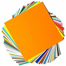 """Permanent Adhesive Backed Vinyl Sheets 12"""" x 12"""" 40 Sheets Assorted Colors Works"""