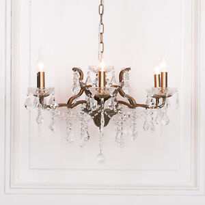 Classic French Style 6 Arm Branch Antiqued Gold Shallow Cut Glass Chandelier