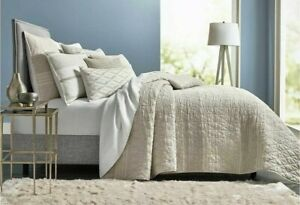 NEW Hotel Collection Honeycomb Stripe Oatmeal Full Queen Coverlet MSRP $335