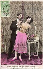 BK769 Carte postale Photo vintage card RPPC couple fantaisie amour romantisme