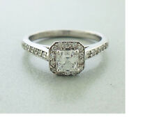 Diamond Asscher cut Engagement Ring Set in 14K White Gold