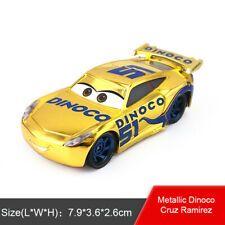 Disney Pixar Cars 3 Gold Dinoco Cruz Ramirez Diecast Metal Toy Model Car 1:55