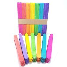 100 Pcs Colorful Ice Cream Sticks Popsicle Sticks DIY Crafts Flat Wooden Timber