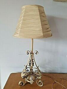 Retro Vintage 1950's Cream Wrought Iron & Acanthus Leaves Table Lamp~ with shade