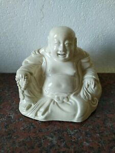 Ancienne Statue BOUDDHA RIEUR En faïence / Porcelaine CHINE XIX ème