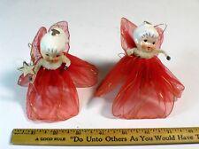 2 Vintage LEFTON Christmas ANGELS Ornament,Mesh Wings Pipe Cleaner