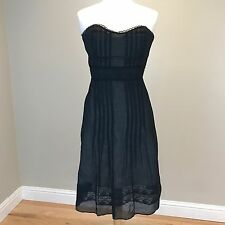 Anthropologie Odille 'Fine Lines' Dress Size 6 Pintucked Lace Trim Organza J7