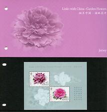Jersey 2015 estampillada sin montar o nunca montada Jardín Flores vínculos China 2v m/s presentación Pack Peonía sellos