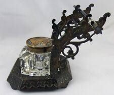 Victorian Bronze / Brass Ink Well & Dip Pen Stand Horse Decoration On Lid