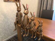Wooden Hare / Rabbit Articulated Puppet Folk Art Family Set of 4