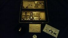 -JUST.IN~4-Pc.LOT-SILVER BAR+FOREIGN GOLD REP.* BANKNOTE BOTH W/ C.O.A&GOLD LEAF
