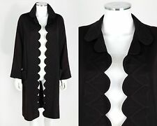VTG 1920s BLACK WOOL TRAPUNTO QUILTED FLAPPER COAT JACKET SZ S