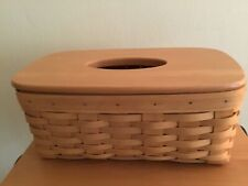 Longaberger Long Tissue Basket with Woodcrafts Lid