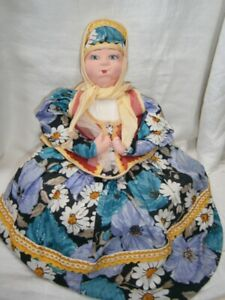 """LARGE 15"""" SITTING ANTIQUE RUSSIAN CLOTH DOLL TEACOSY OR TELEPHONE COVER."""