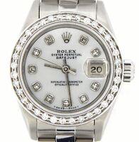 Rolex Datejust Ladies Stainless Steel Watch Oyster Quickset White MOP Diamond