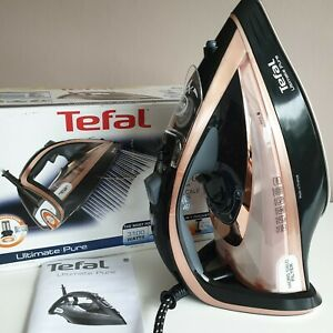 Tefal Ultimate Pure Fv9845 Steam Iron in Black and Rose Gold