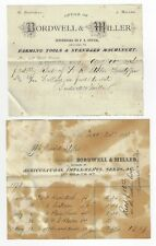 1873/1874 Marshall Michigan Billheads BORDWELL & MILLER FARMING TOOLS MACHINERY