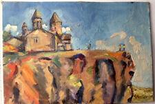 "1980 ""ARMENIA CHURCH"" Landscape Art Painting RUSSIAN ARMENIAN Artist H. AGHAMIAN"