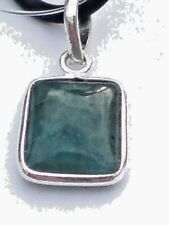 "STERLING SILVER & 25mmx10mm EMERALD CABOCHON STONE PENDANTon a18""THONG £14.95nwt"